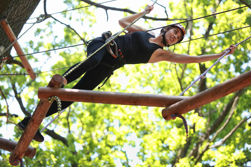 woman on high rope course