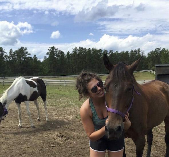 girl petting horses