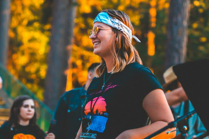 Woman smiling at summer camp
