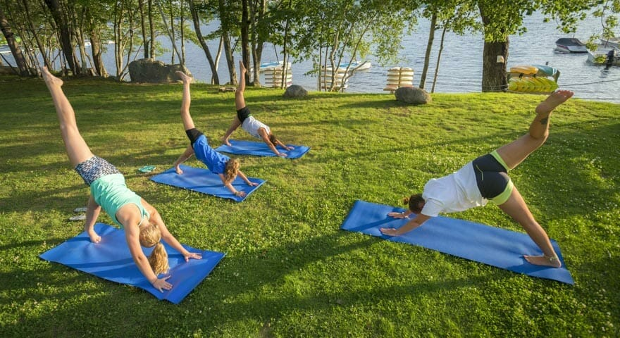 Yoga class at USA summer camp