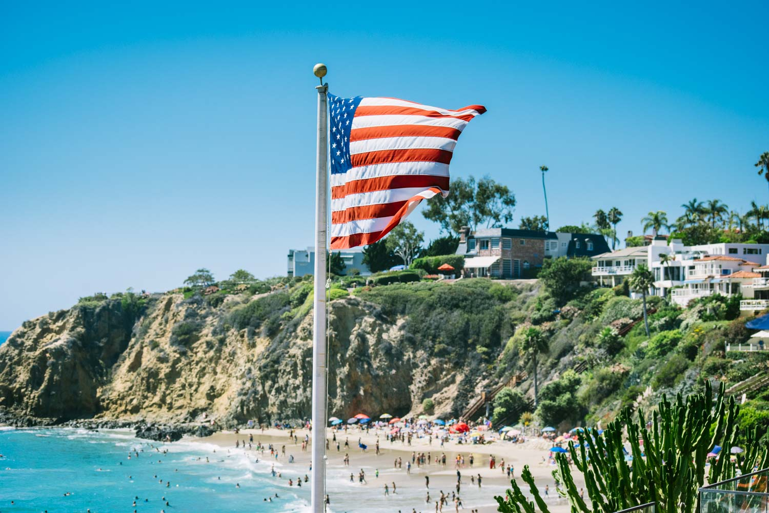 American flag at the beach